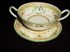 ELEGANT VINTAGE ROYAL DOULTON TWO HANDLE SOUP COUPE MELFONT & SAUCER KENDAL